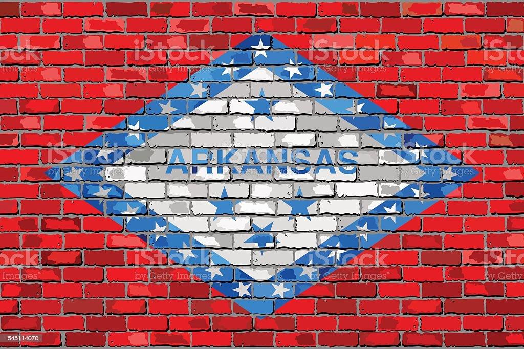 Flag of Arkansas on a brick wall vector art illustration