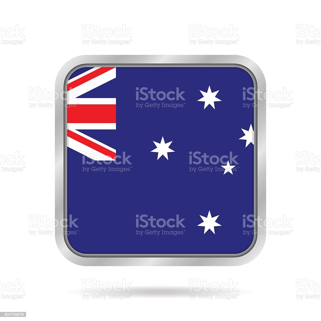 flag of Australia, shiny metallic square button vector art illustration