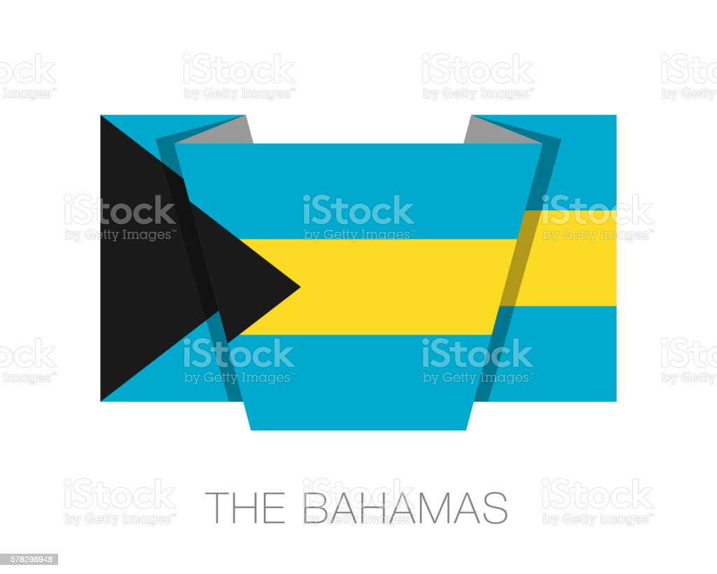 Flag of Bahamas. Flat Icon Wavering Flag with Country Name vector art illustration