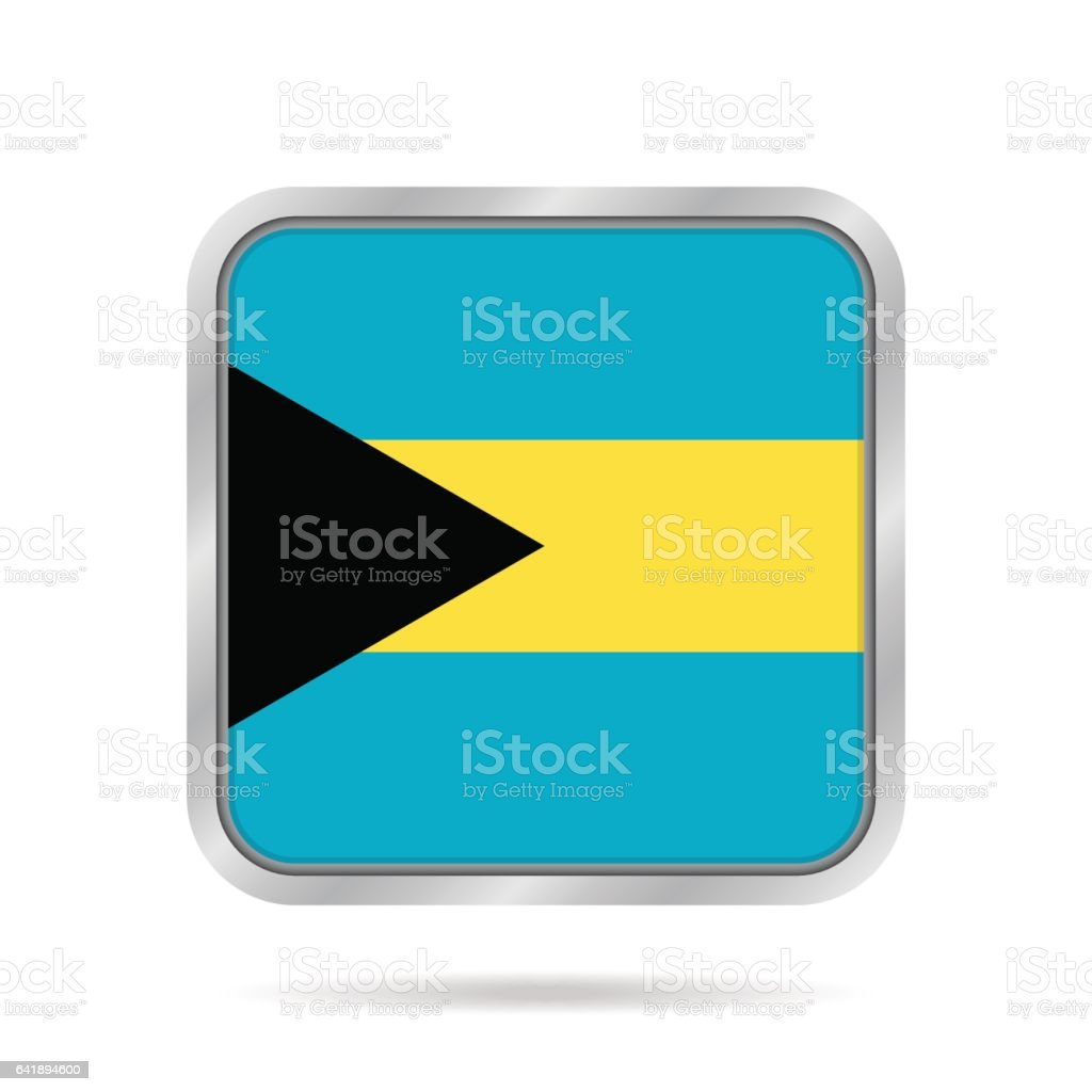flag of Bahamas, shiny metallic gray square button vector art illustration