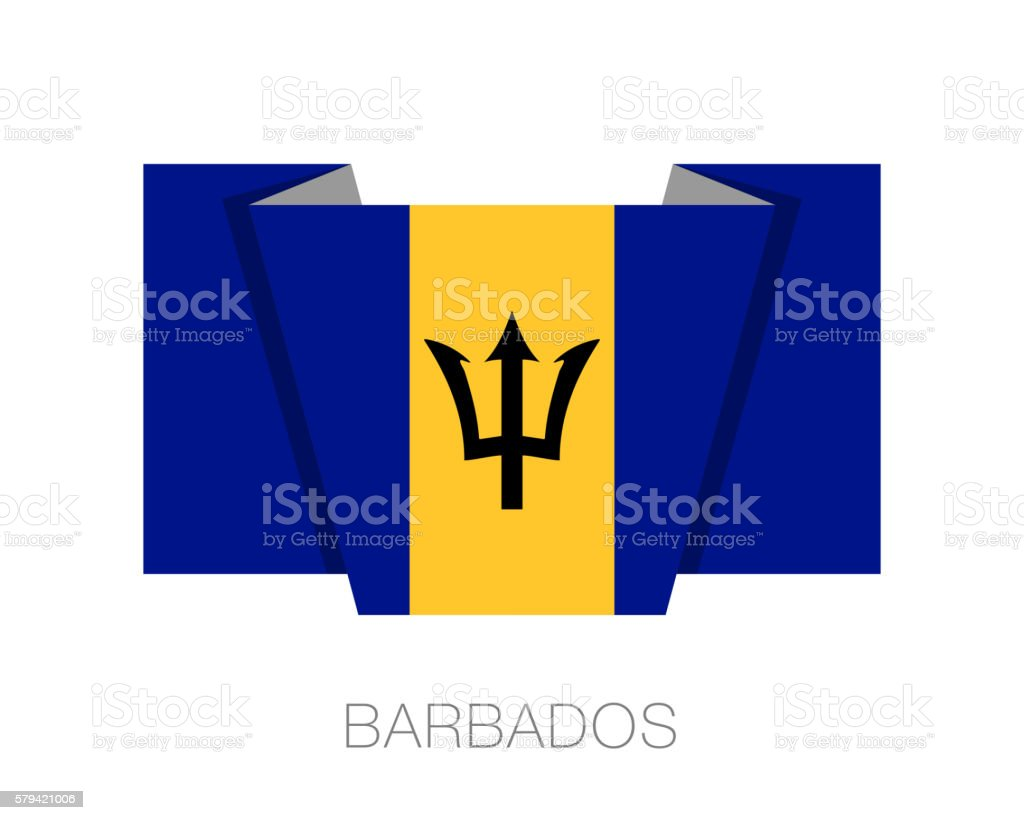 Flag of Barbados. Flat Icon Wavering Flag with Country Name vector art illustration