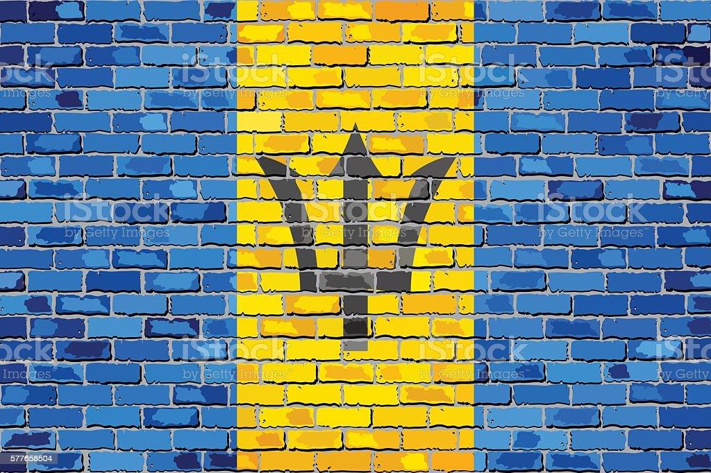 Flag of Barbados on a brick wall vector art illustration