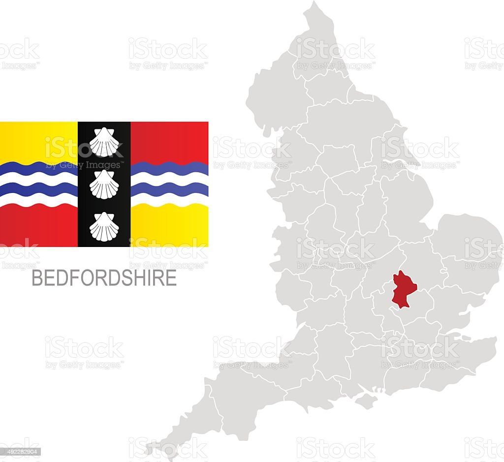 Flag of Bedfordshire and location on England map vector art illustration