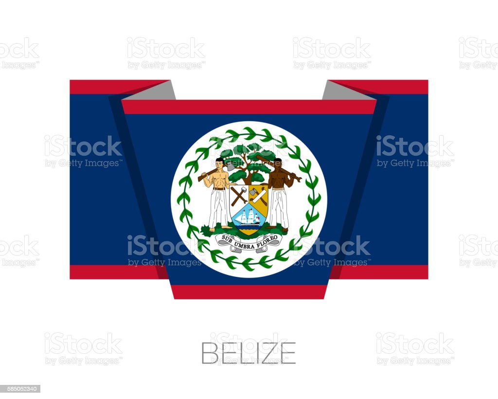 Flag of Belize. Flat Icon Wavering Flag with Country Name vector art illustration