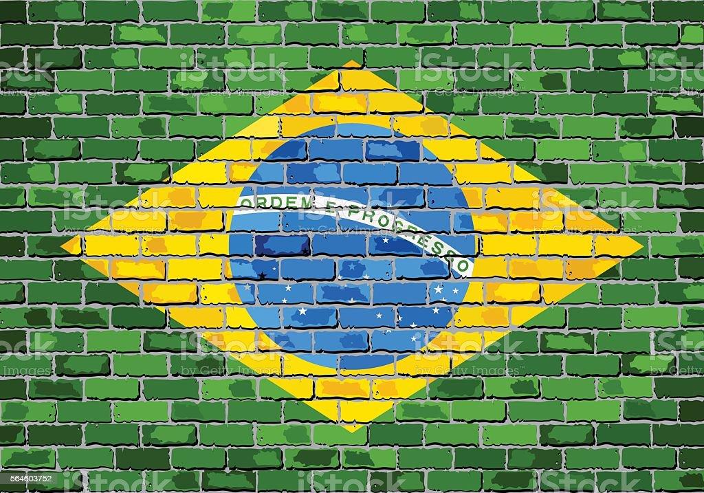 Flag of Brazil on a brick wall vector art illustration