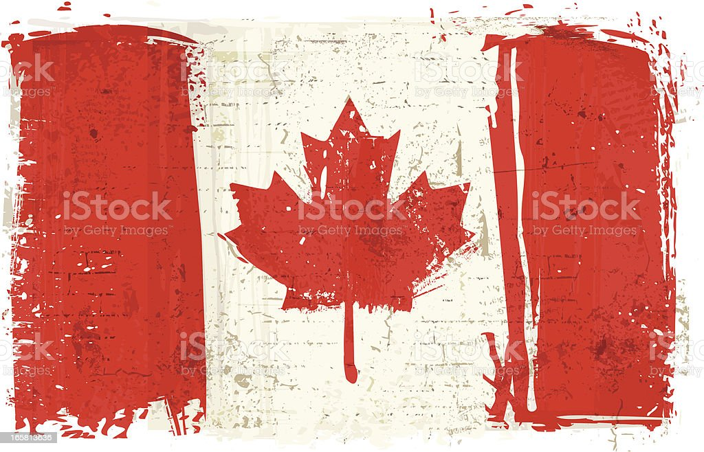 Flag of Canada on Wall vector art illustration