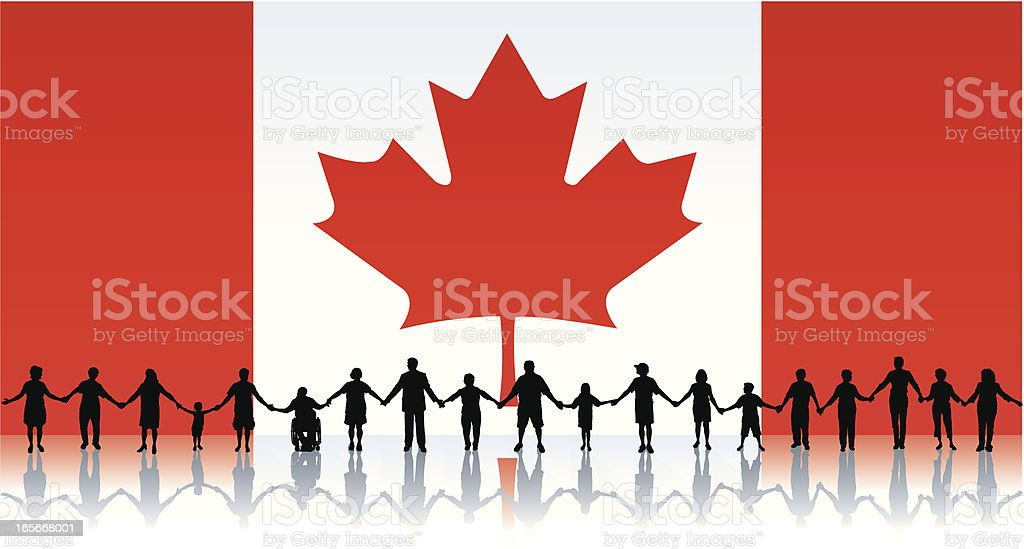 Flag of Canada, People Standing Together Holding Hands royalty-free stock vector art