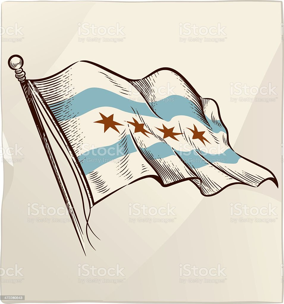 Flag of Chicago royalty-free stock vector art