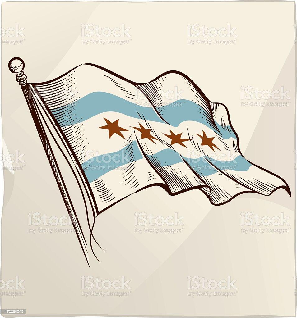 Flag of Chicago vector art illustration