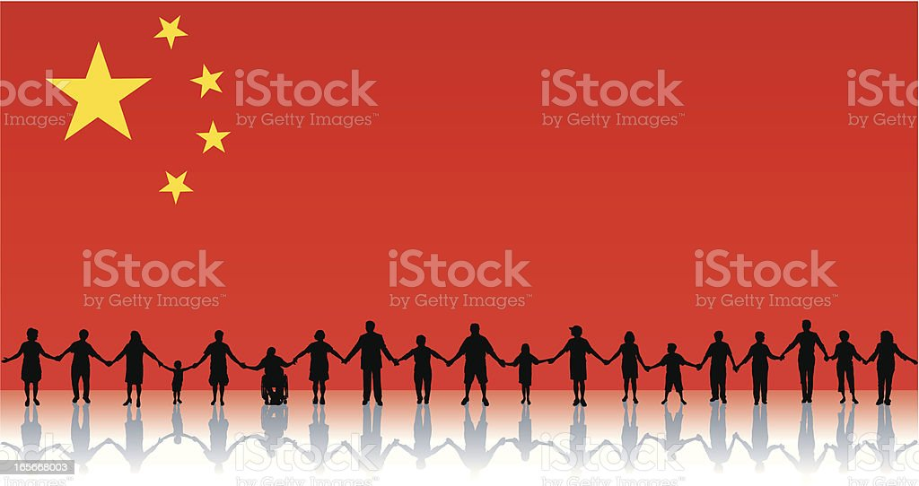 Flag of China, People Standing Together Holding Hands Background royalty-free stock vector art