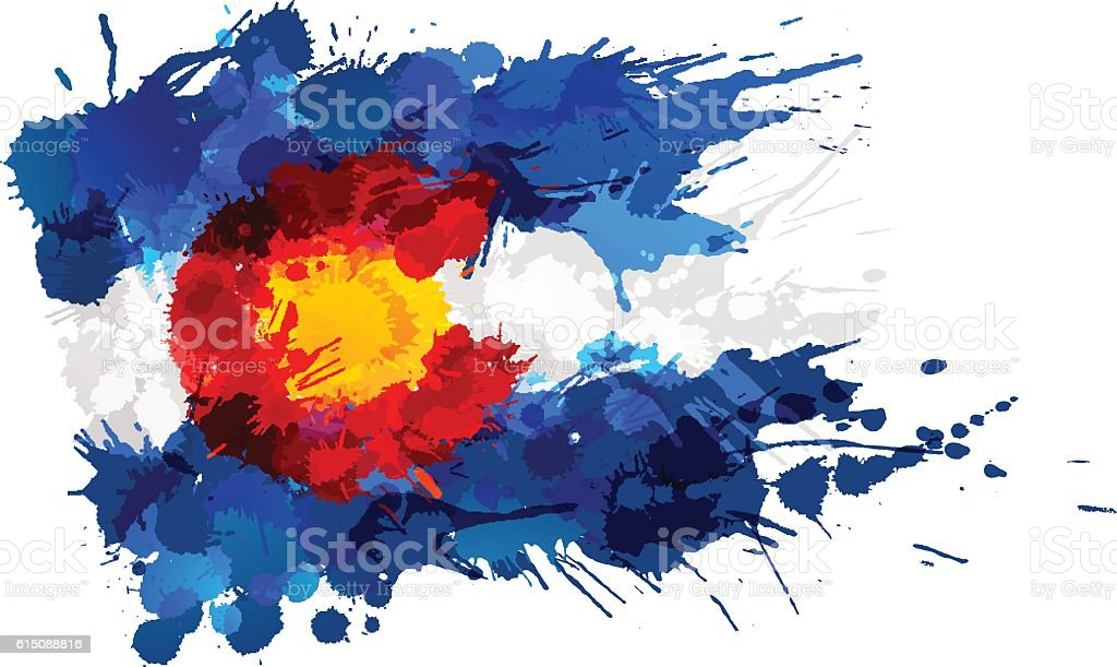 Flag of Colorado made of colorful splashes vector art illustration