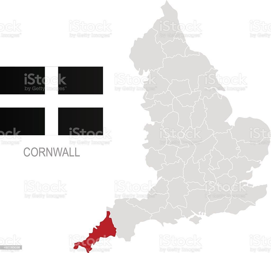 Flag of Cornwall and location on England map vector art illustration