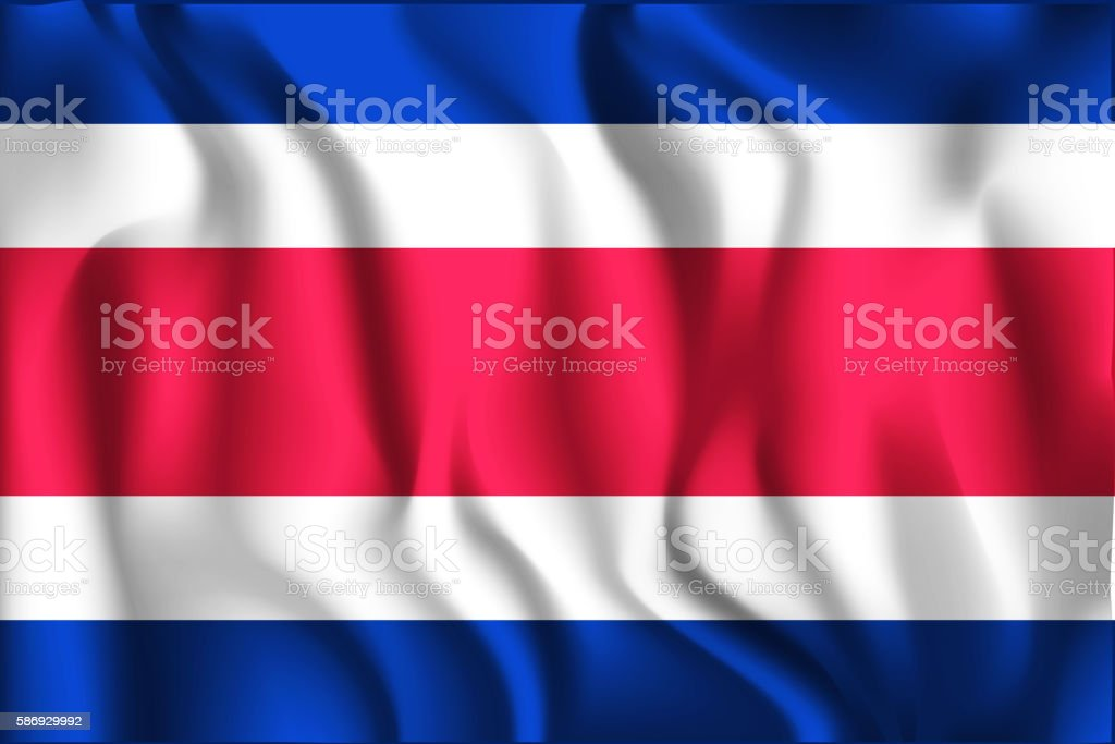 Flag of Costa Rica. Rectangular Shape Icon with Wavy Effect vector art illustration