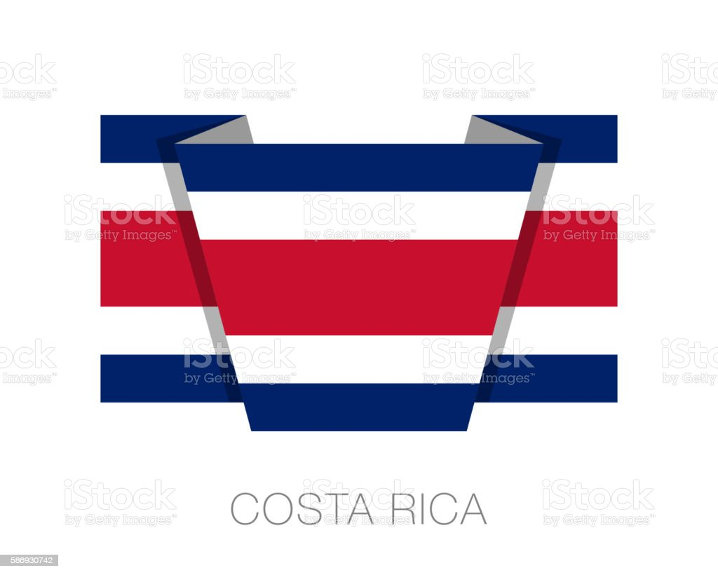 Flag of Costa Rica. Wavering Flag with Country Name vector art illustration