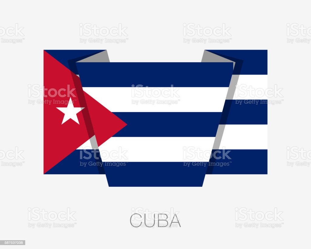 Flag of Cuba. Flat Icon Wavering Flag with Country Name vector art illustration