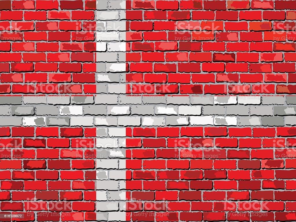 Flag of Denmark on a brick wall vector art illustration