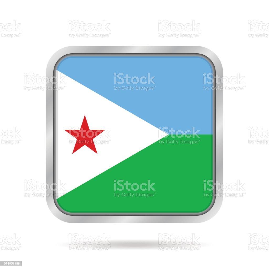 Flag of Djibouti. Metallic gray square button. vector art illustration
