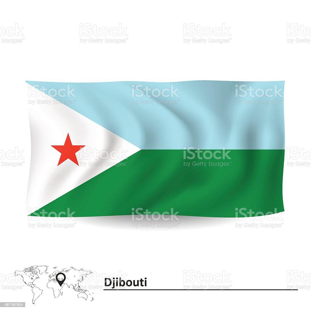 Flag of Djibouti vector art illustration
