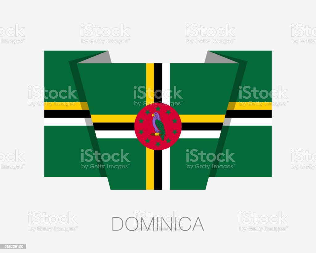 Flag of Dominica. Flat Icon Wavering Flag with Country Name vector art illustration