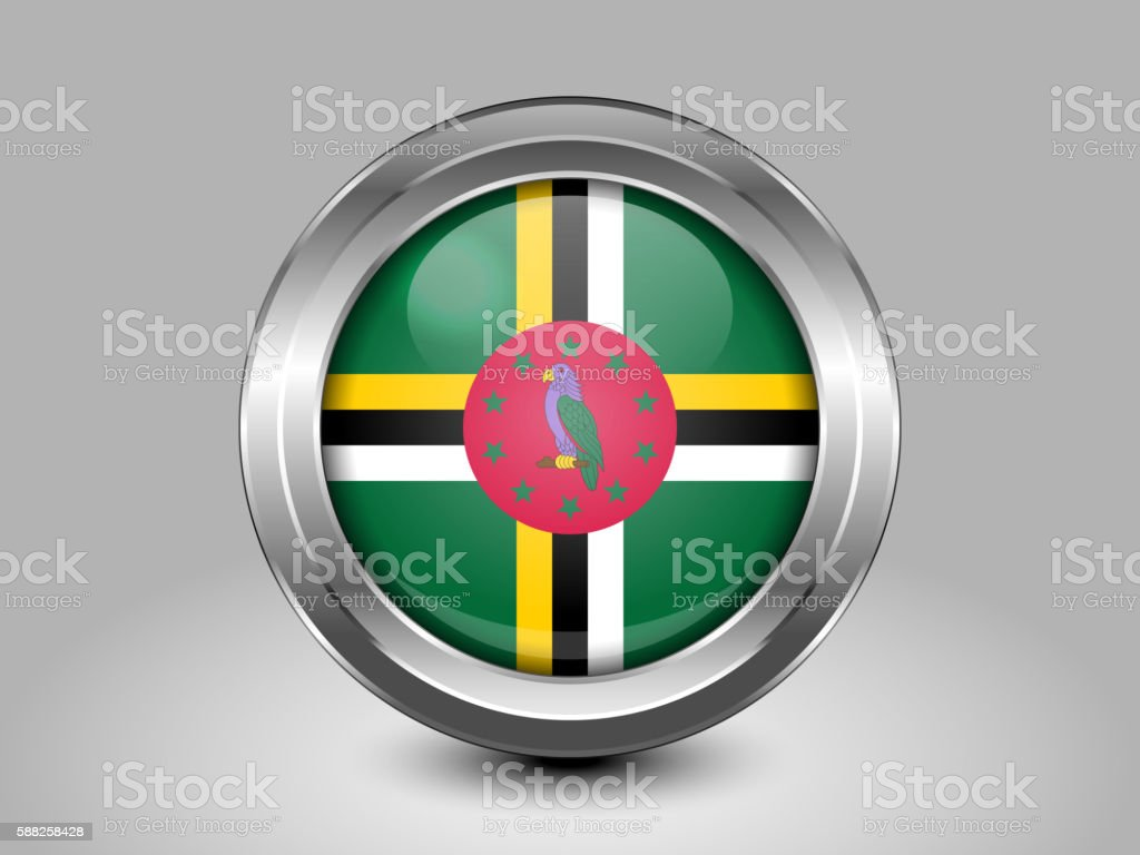 Flag of Dominica. Metal and Glass Round Icon vector art illustration