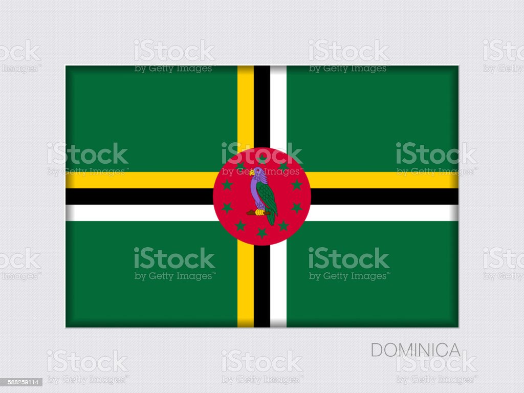 Flag of Dominica. Rectangular Official Flag with Proportion 2:3 vector art illustration
