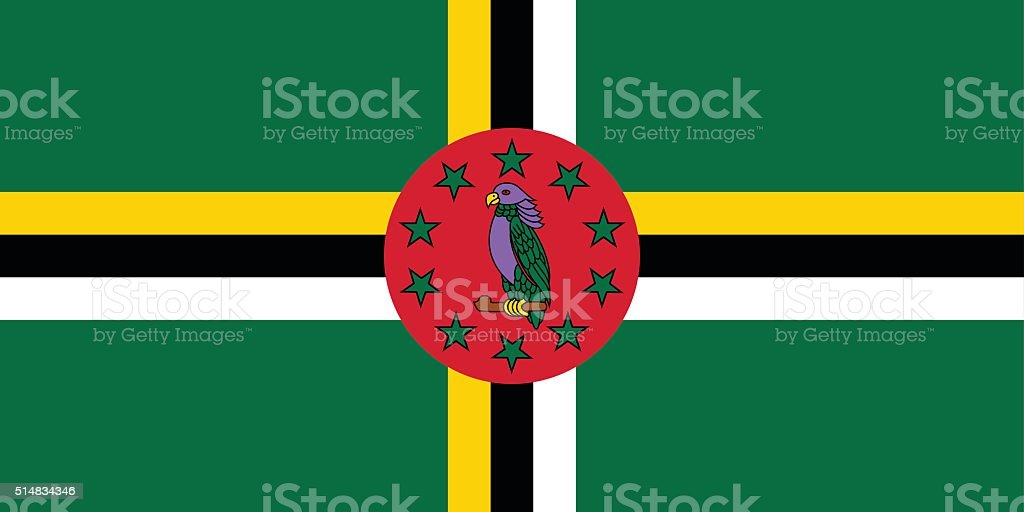 Flag of Dominica vector art illustration