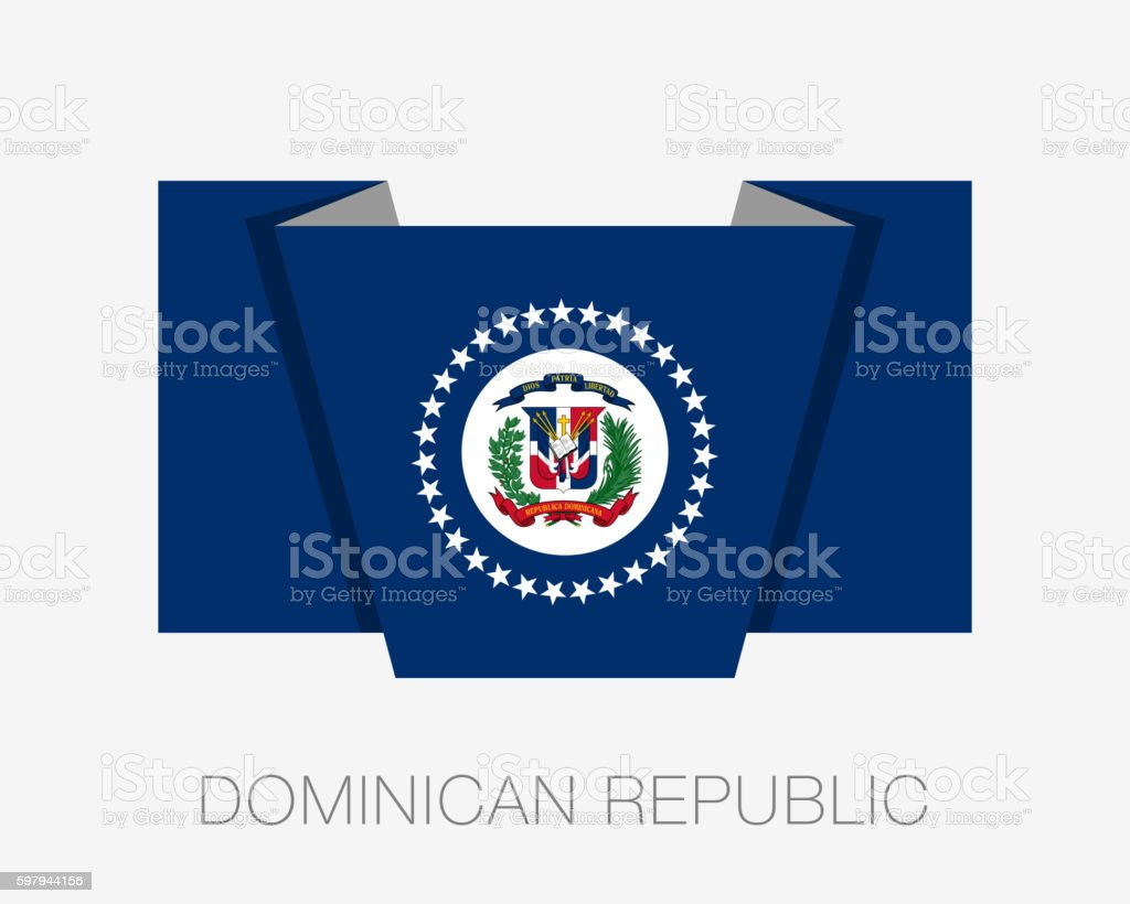 Flag of Dominican Republic. Flat Icon Wavering Flag with Country vector art illustration