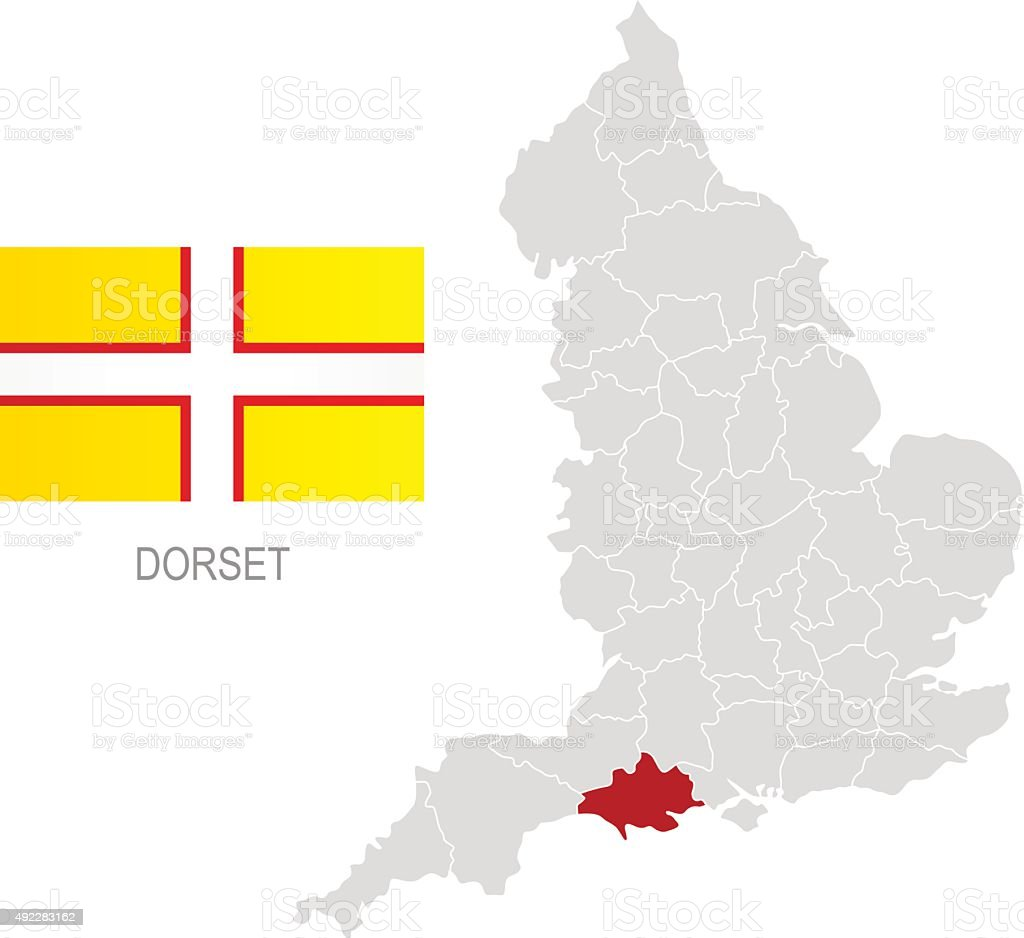 Flag of Dorset and location on England map vector art illustration