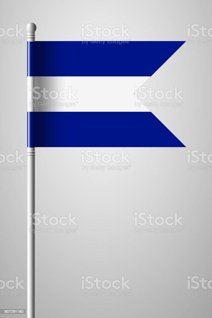 Flag of El Salvador. National Flag on Flagpole vector art illustration