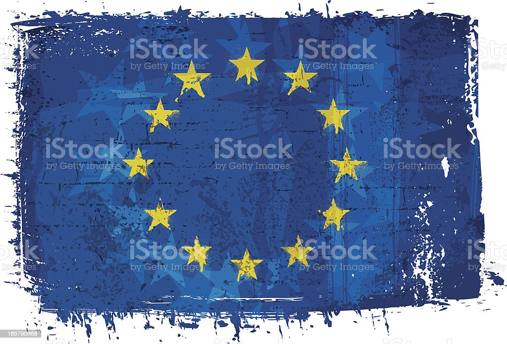 Flag of European Union on Wall vector art illustration