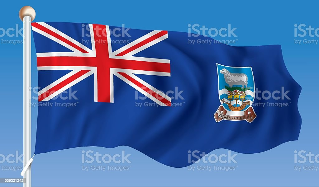 Flag of Falkland Islands vector art illustration