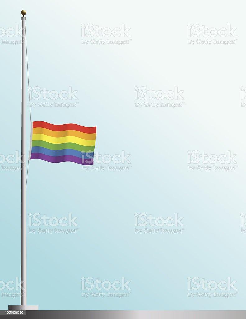 Flag of Gay Pride at Half-Staff vector art illustration