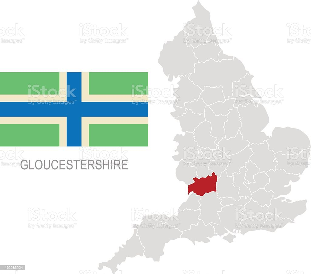 Flag of Gloucestershire and location on England map vector art illustration