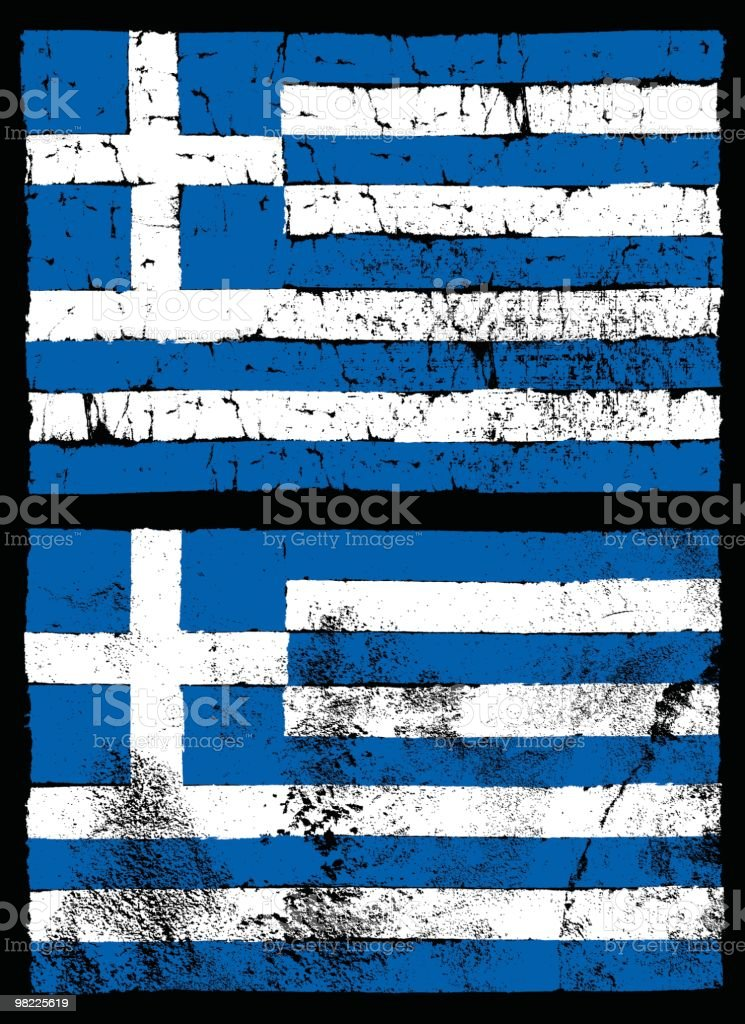 Flag of Greece, Grunge Style royalty-free stock vector art