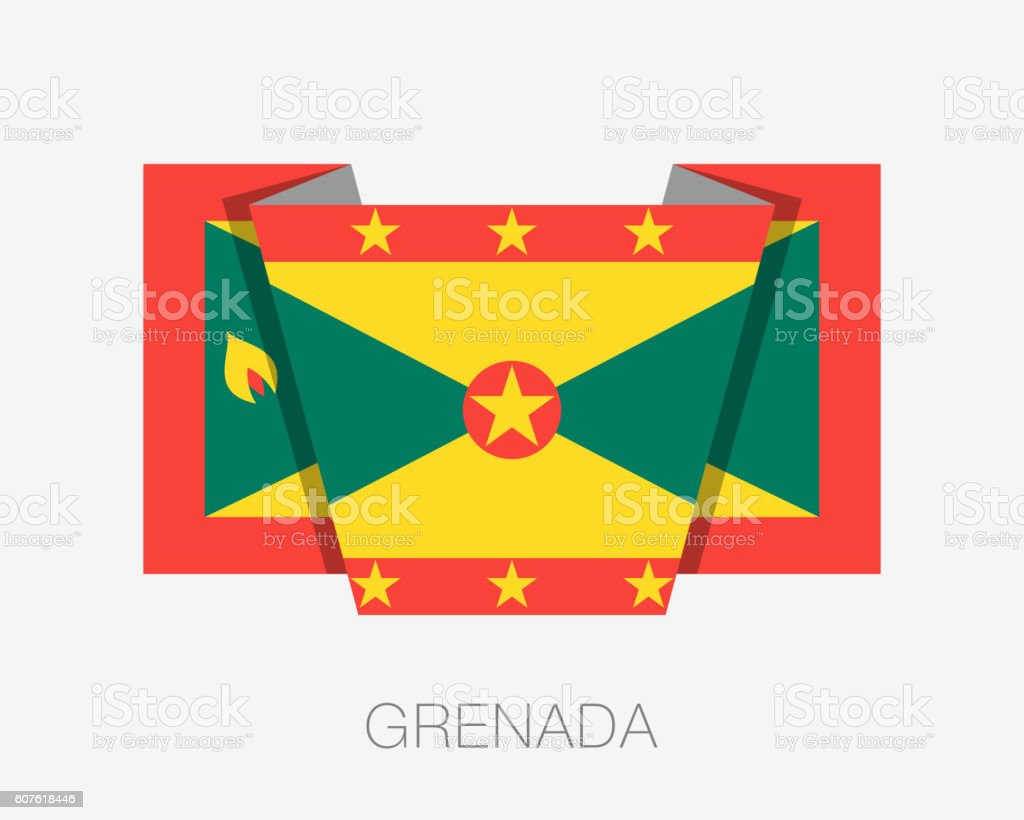 Flag of Grenada. Flat Icon Wavering Flag with Country Name vector art illustration