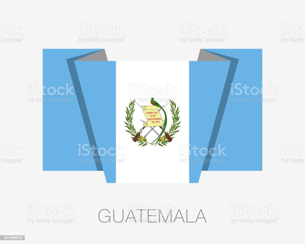 Flag of Guatemala. Flat Icon Wavering Flag with Country Name vector art illustration
