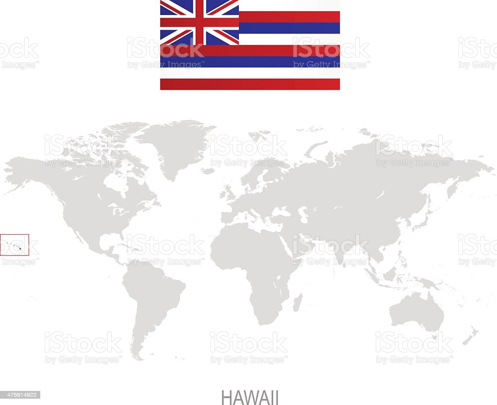 Flag Of Hawaii And Location On World Map Royaltyfree Stock Vector Art