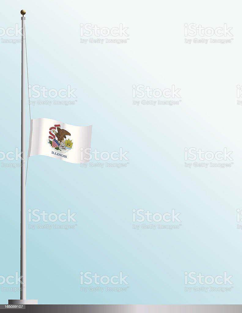 Flag of Illinois at Half-Staff vector art illustration