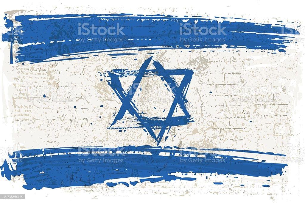 Flag of Israel on Wall vector art illustration