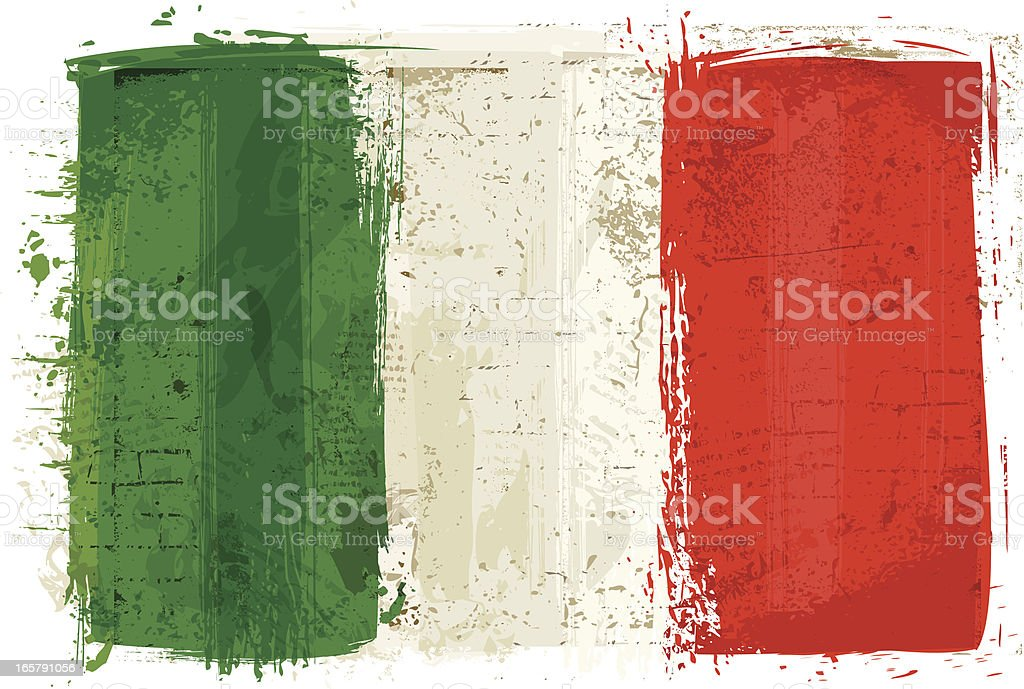 Flag of Italy on Wall vector art illustration