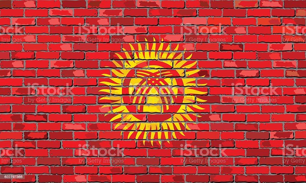 Flag of Kyrgyzstan on a brick wall vector art illustration