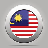 Flag of Malaysia. Shiny metal gray round button.