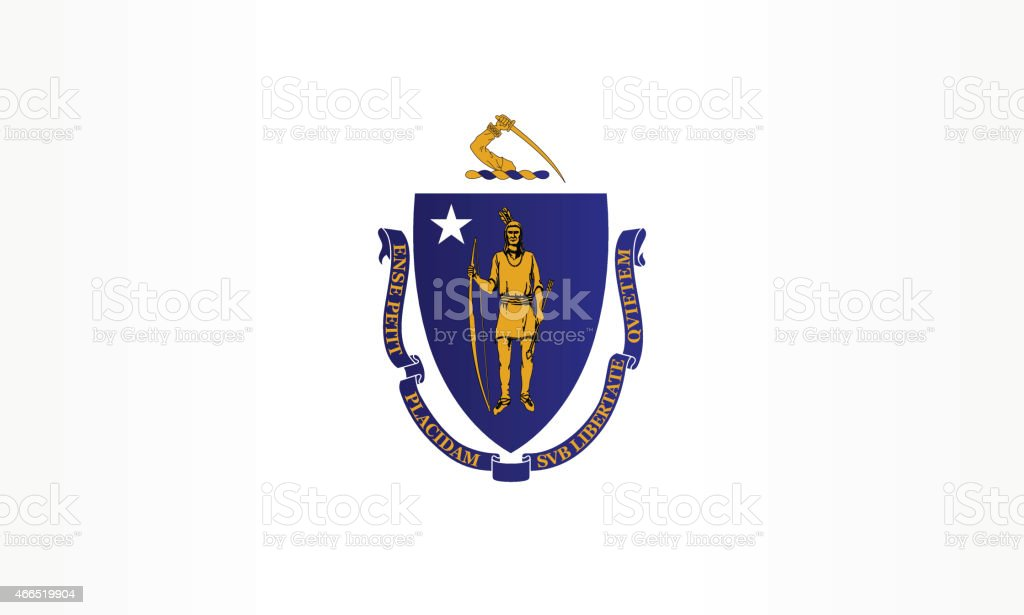 Flag of Massachusetts vector art illustration