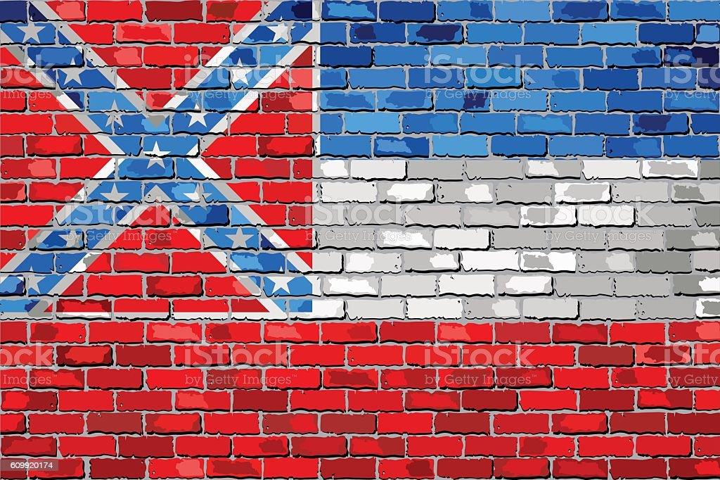 Flag of Mississippi on a brick wall vector art illustration