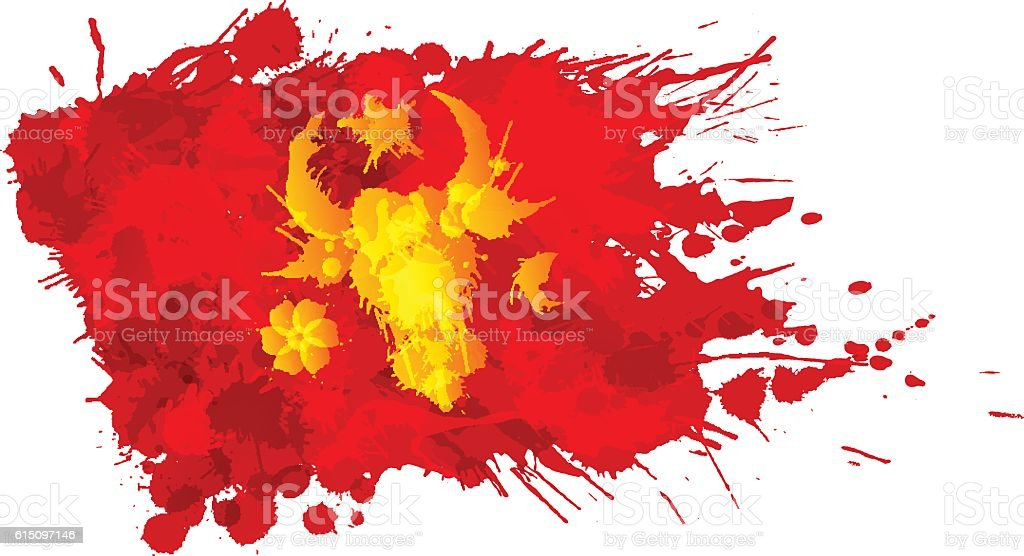 Flag of Moldavia made of colorful splashes vector art illustration