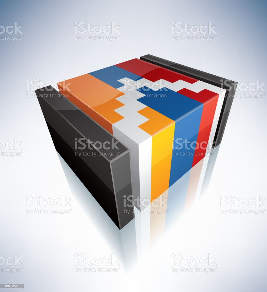 3D flag of Nagorno-Karabakh vector art illustration