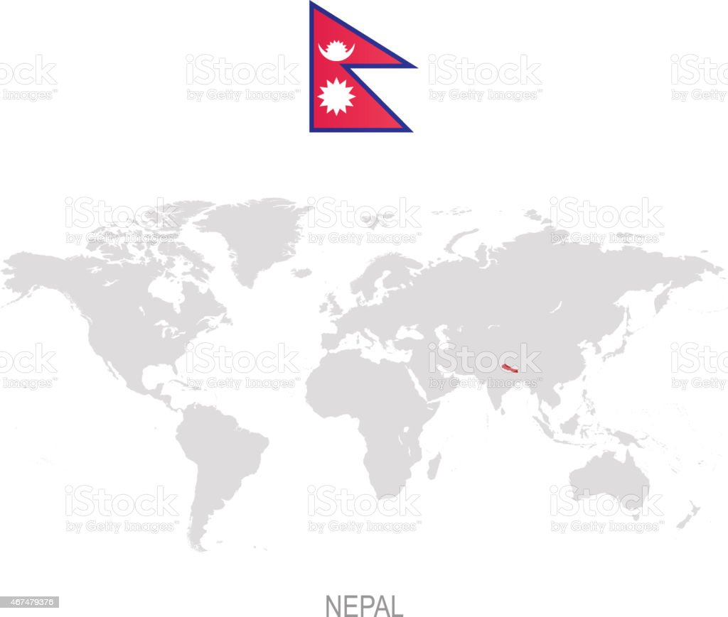 Flag of Nepal and designation on World map vector art illustration