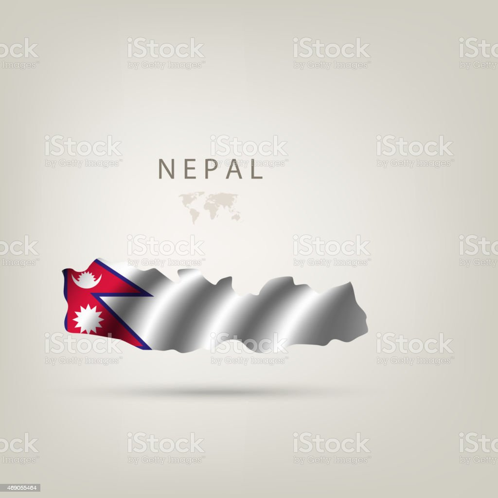Flag of NEPAL as a country with a shadow vector art illustration