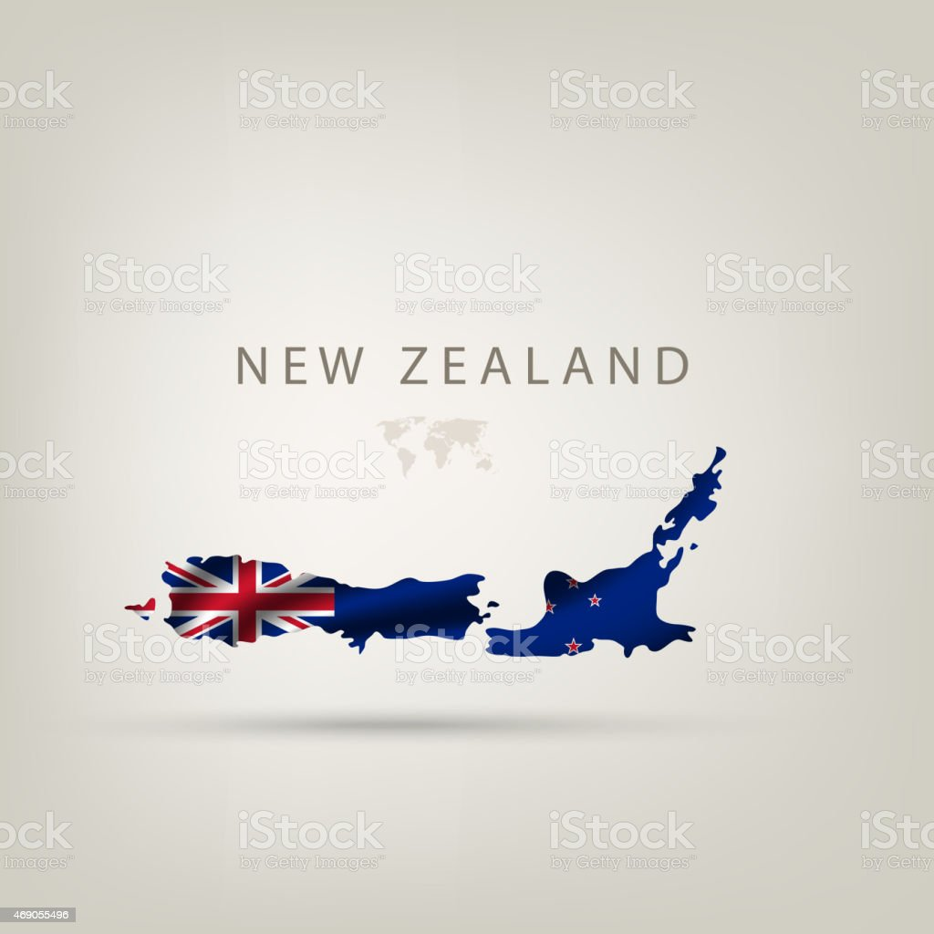 Flag of NEW ZEALAND as a country with a shadow vector art illustration