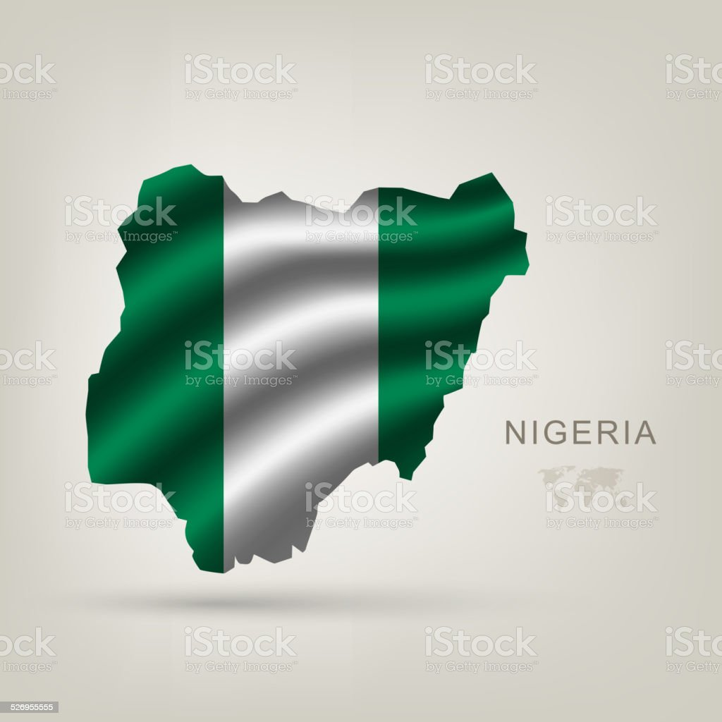 flag of Nigeria as the country vector art illustration